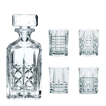 Nachtmann 5-Piece Crystal Highland Whisky Decanter & Tumbler Set 750ml/345ml