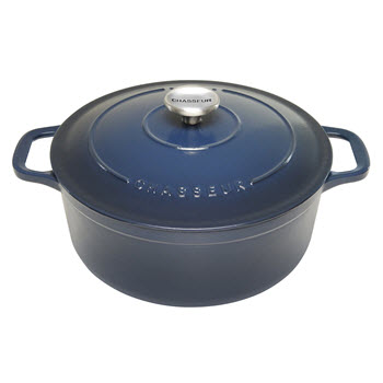 Chasseur Round French Oven Liquorice Blue 5L