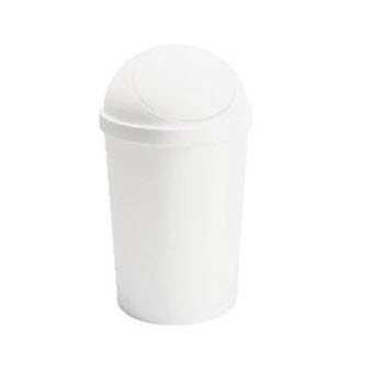 Sterilite Round Swing-Top Wastebasket White 11.4L