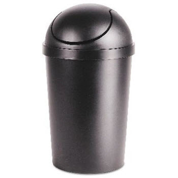 Sterilite Round Swing-Top Wastebasket Black 40L