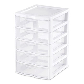 Sterilite ClearView 5 Drawer Unit Small