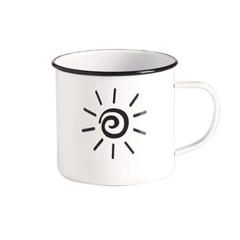 RetroKitchen 450ml Enamel Mug Sun