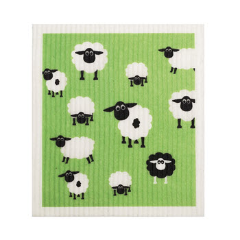 RetroKitchen Compostable Kitchen Sponge Cloth Sheep Design