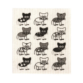 RetroKitchen Compostable Kitchen Sponge Cloth Cats Design
