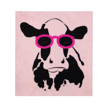 RetroKitchen Compostable Kitchen Sponge Cloth Cow Design