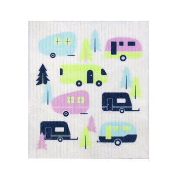RetroKitchen Compostable Kitchen Sponge Cloth Caravan Design