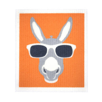 RetroKitchen Compostable Kitchen Sponge Cloth Donkey Design