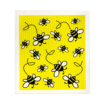 RetroKitchen Compostable Kitchen Sponge Cloth Bees Design