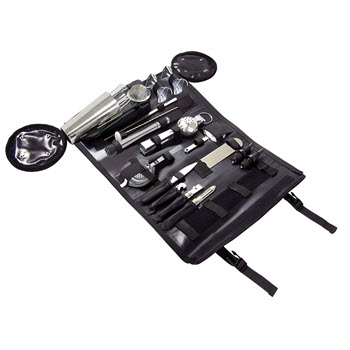 Uberbartools BostonBarRoll Bartenders Kit Black