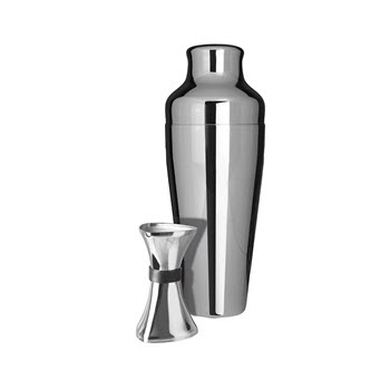 Uberbartools Shake & Jigger 2 Piece Cocktail Set Chrome
