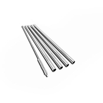 Uberbartools BarStraws Stainless Steel Reusable Straws Set of 4 Chrome
