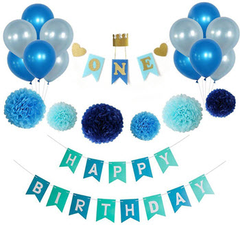 Party Temptation First Birthday Decoration Set Blue
