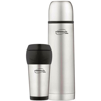 Thermos 1L Stainless Steel Slimline Vacuum Flask & 450ml Travel Tumbler