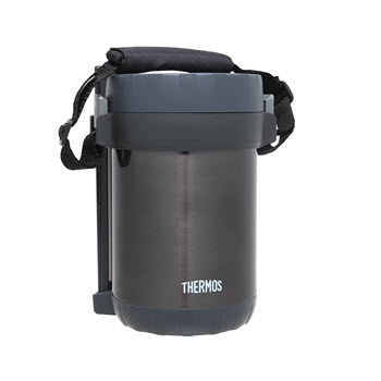 Thermos Stainless Steel Vacuum Insulated 1.3L Food Storage With Containers & Chopsticks Grey
