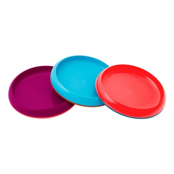 Boon Silicone & Plastic Set of 3 Kids Plates Pink, Blue & Purple
