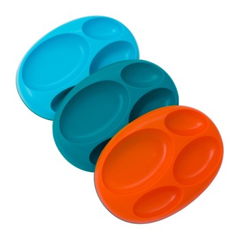Boon Silicone & Plastic Set of 3 Platters 18cm Blue, Orange & Green