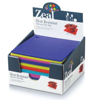 Zeal Silicone Square Hot Mat 22cm Assorted Colours