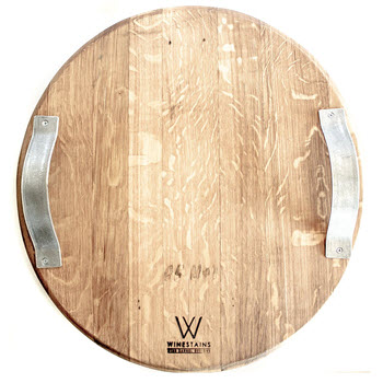 Winestains Circular Oak Cheese Platter with Metal Handles