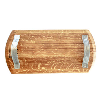 Winestains Rectangle Oak Platter with Metal Handles 55 x 30cm