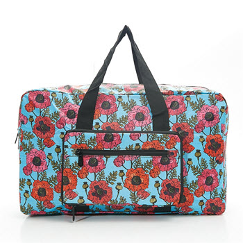 Eco Chic Foldable Hold-all Overnight Bag Poppies Blue
