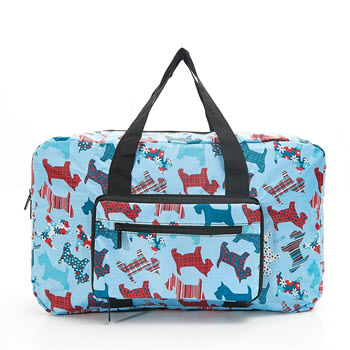 Eco Chic Foldable Hold-all Overnight Bag Scotty Dog Blue