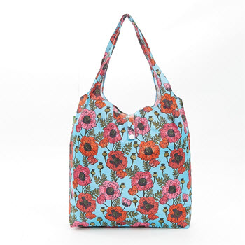 Eco Chic Foldable Shopper Bag Poppies Blue