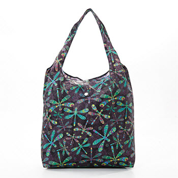 Eco Chic Foldable Shopper Bag Dragonfly Black