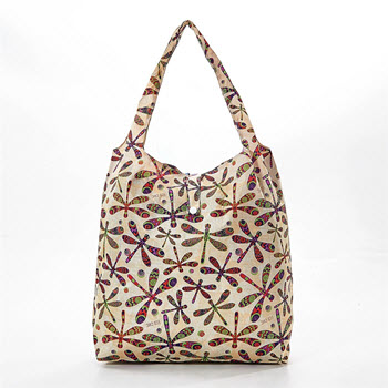 Eco Chic Foldable Shopper Bag Dragonfly Beige