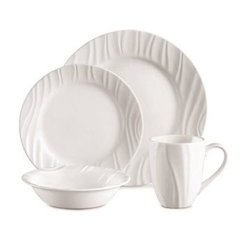 Corelle Boutique Embossed Swept 16 Piece Dinner Set