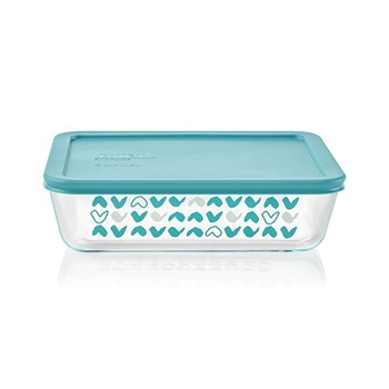 Pyrex Simply Store Doodles Rectangle Glass Container with Teal Lid 1.5L