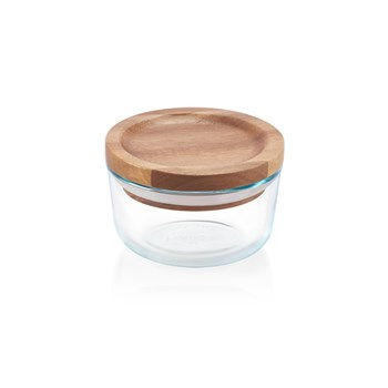 Pyrex Round Dry Food Glass Storage Container with Wood Lid 250ml