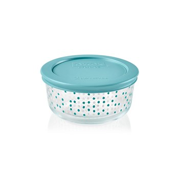Pyrex Simply Store Doodles Round Glass Container with Teal Lid 470ml