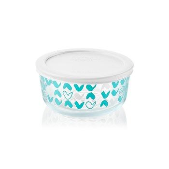 Pyrex Simply Store Doodles Round Glass Container with White Lid 950ml