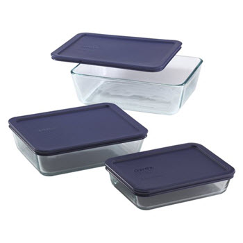 Pyrex Simply Store Set of 3 Rectangular Container Blue
