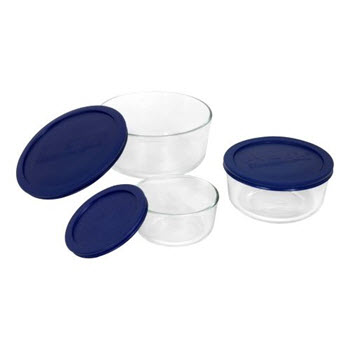 Pyrex Simply Store Set of 3 Round Containers Blue