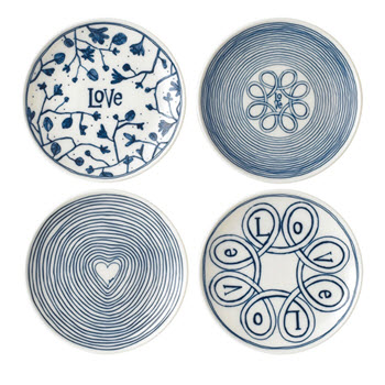 Royal Doulton Ellen Degeneres 16cm Blue Love Plate Set of 4