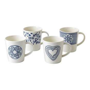 Royal Doulton Ellen Degeneres 475ml Blue Love Mug Set of 4