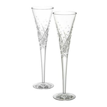Waterford Crystal Celebration Flutes Set of 2 Happy